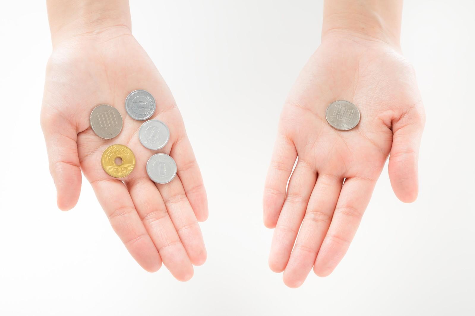 硬貨と手のひら