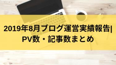2019年8月ブログ運営実績報告|PV数・記事数まとめ