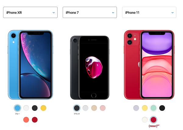 iPhone11などの機種変更のためのスペック比較画像