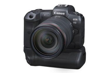 キヤノンのフルサイズミラーレスカメラ「EOS R5」とバッテリーグリップ装着イメージ