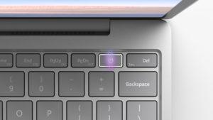 Surface Laptop Goの指紋認証センサーのイメージ